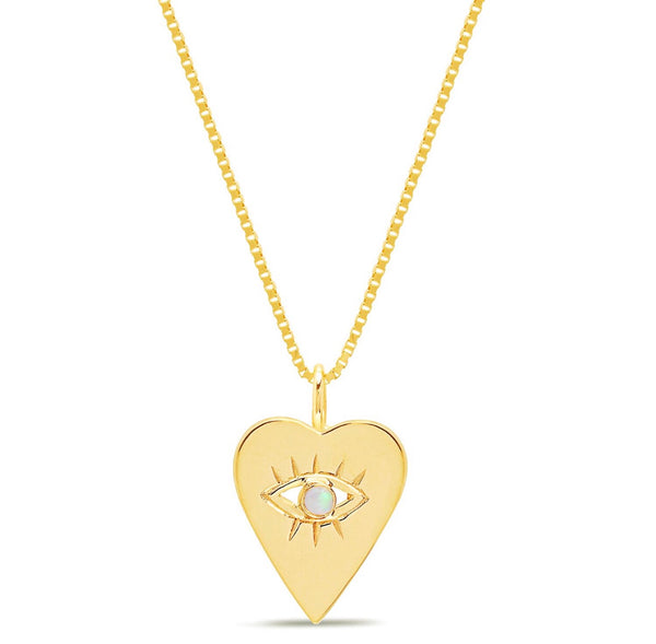 14K Gold Opal Heart Evil Eye Necklace