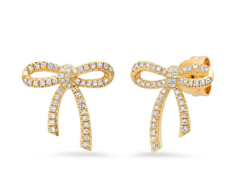 14K Gold Diamond Bow Studs