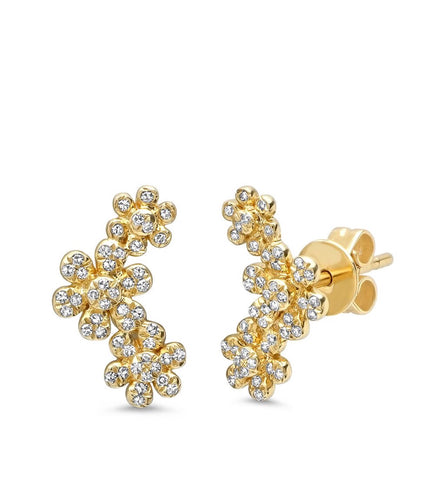 14K Gold Diamond Flower Ear Crawlers