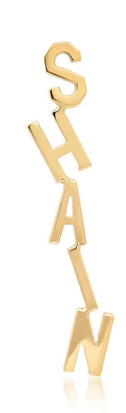 14K Yellow Gold Hanging Name Stud