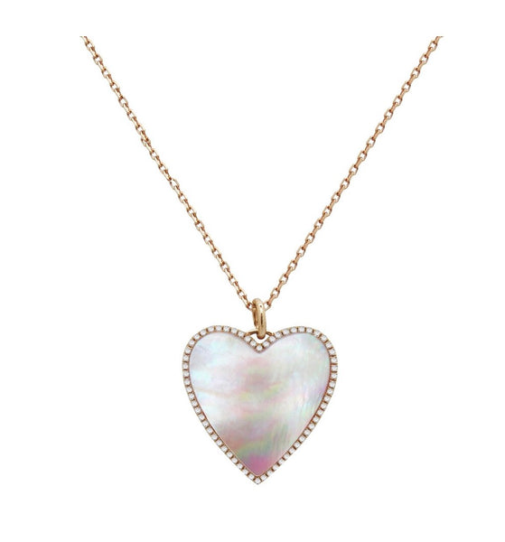 14K Gold Mother of Pearl Diamond Heart Necklace