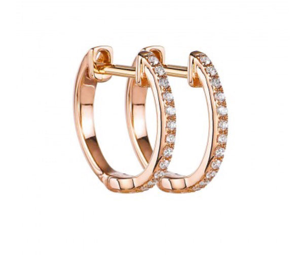 14K Rose Gold Diamond Huggies