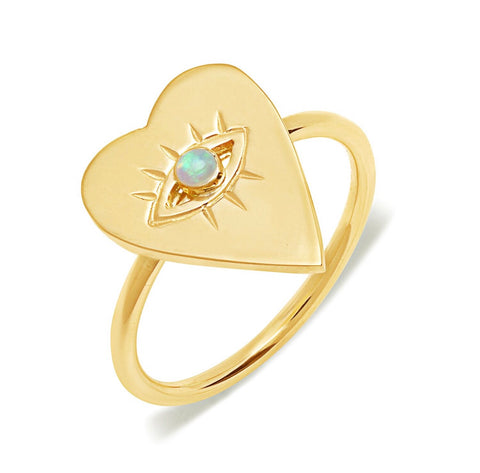 14K Gold Opal Heart Evil Eye Ring