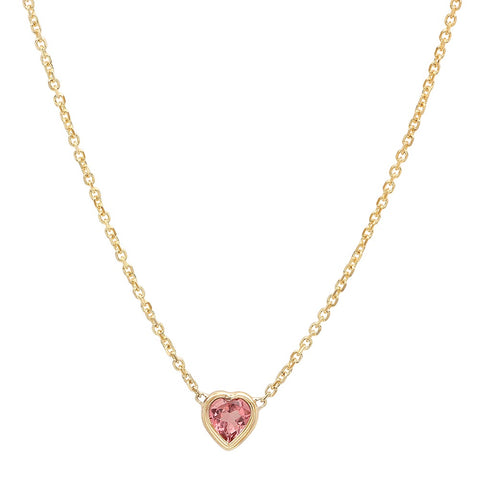 14K Yellow Gold Pink Tourmaline Heart Necklace