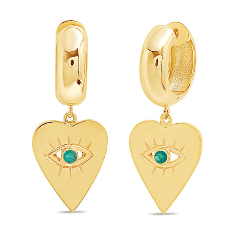 14K Gold Emerald  Heart Evil Eye Charm Huggies