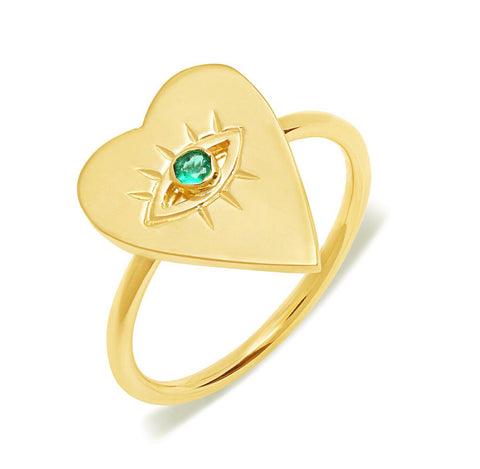 14K Gold Emerald Heart Evil Eye Ring