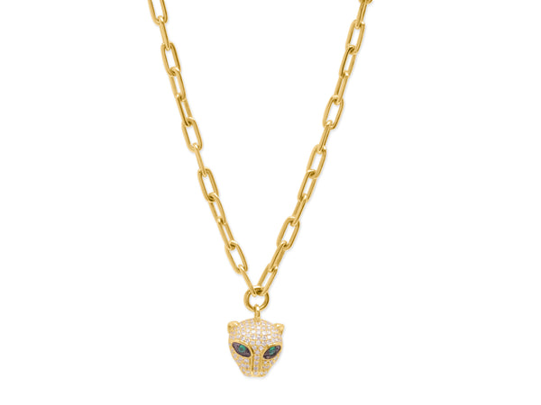 14K Gold Diamond Panther Charm on Chain Link Necklace