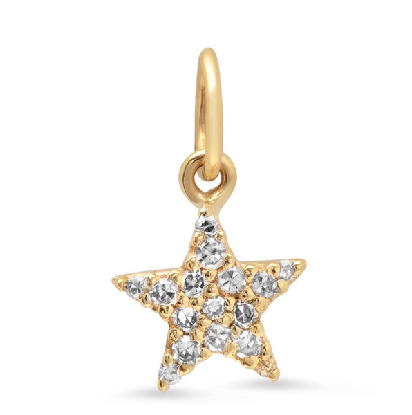14K Gold Diamond Star Charm