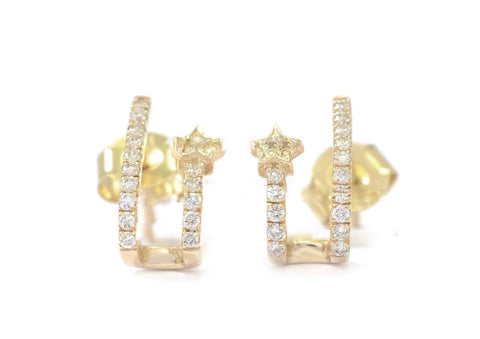 14K Gold Diamond Star Double Huggies