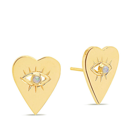 14K Gold Opal Heart Evil Eye Studs