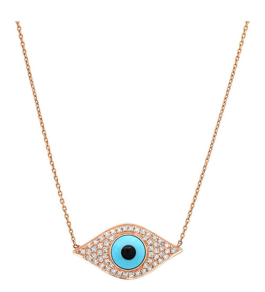 14K Gold Turquoise Diamond Evil Eye Necklace