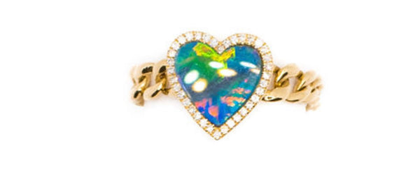 14K Gold Heart Opal & Diamond Chain Ring