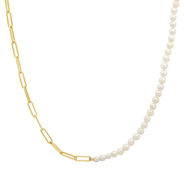 14K Gold Paperclip and Pearl Necklace