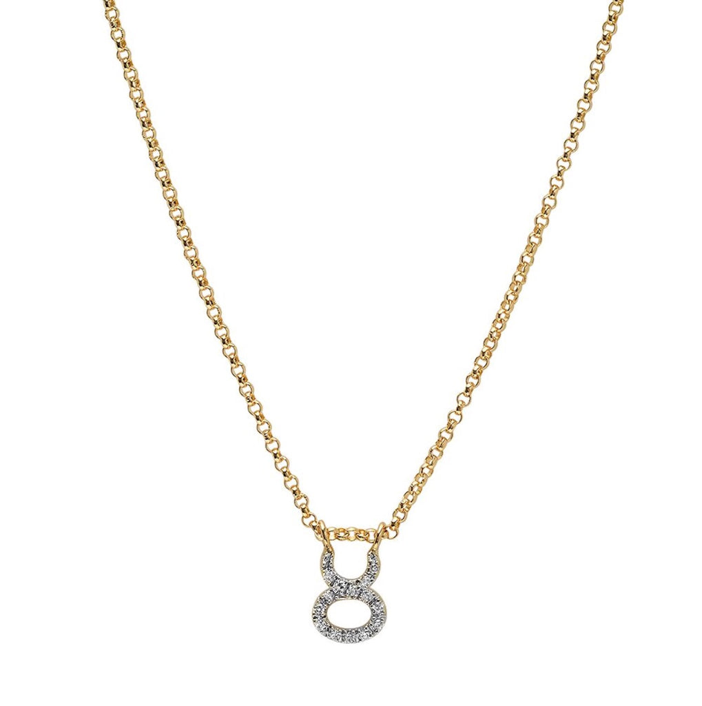 14K Gold Diamond Zodiac Pendant