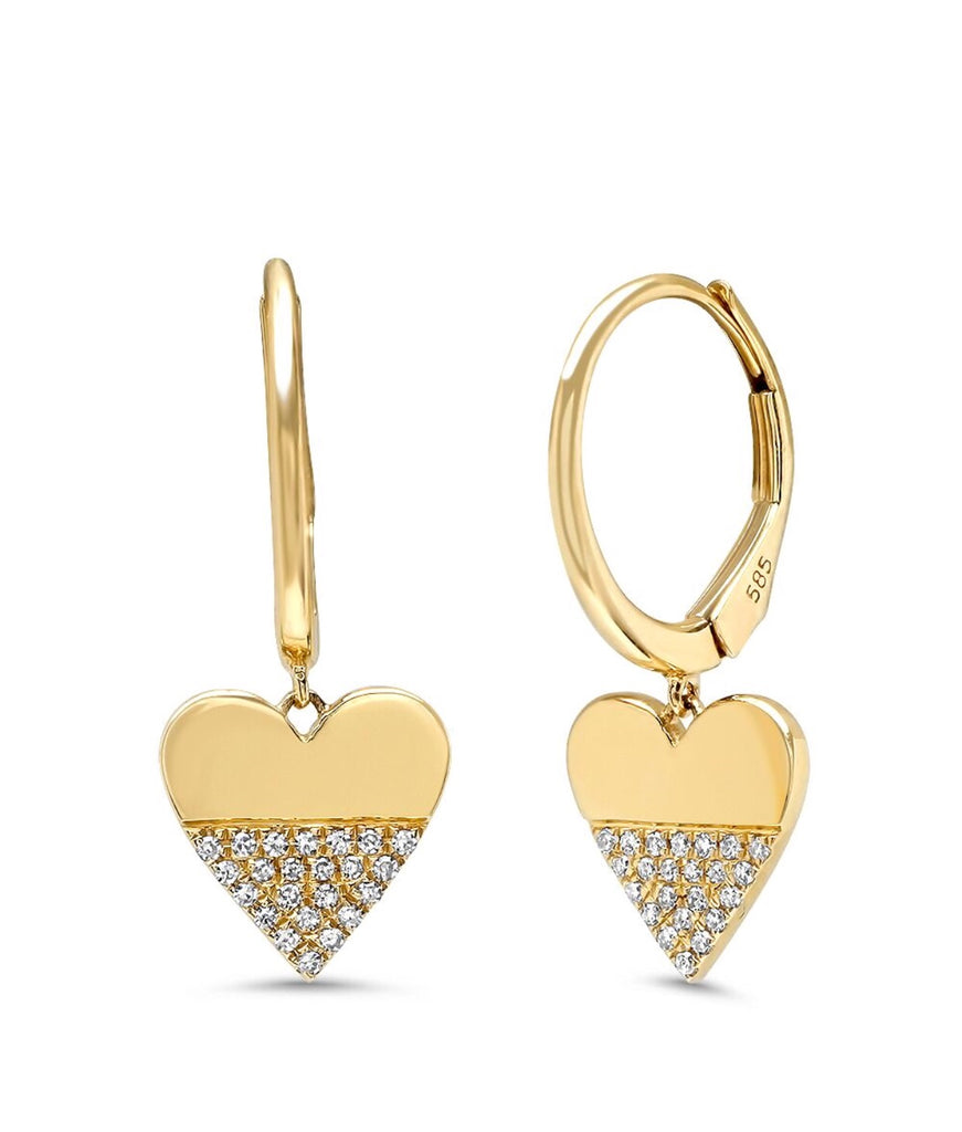 14K Gold Diamond Heart Charm Huggies