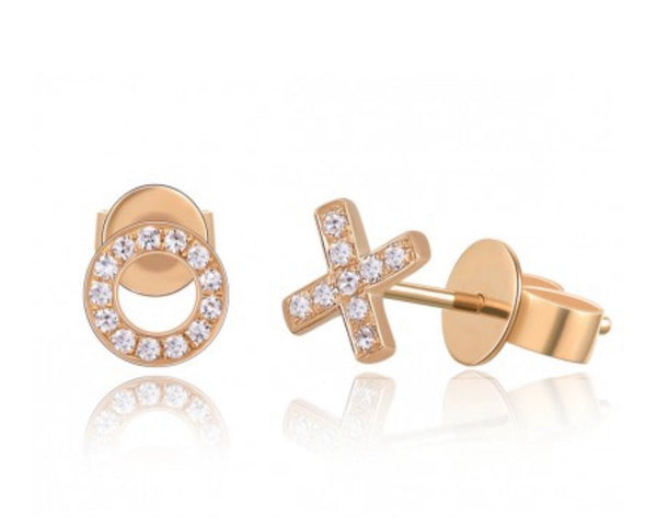 X AND O DIAMOND STUD EARRINGS