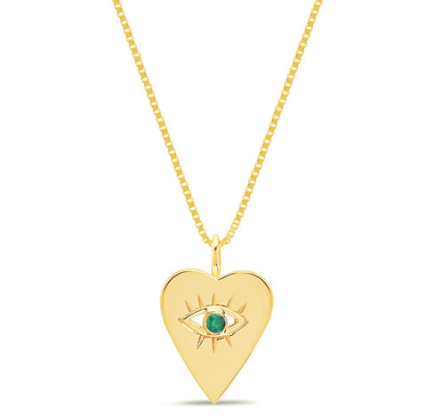 14K Gold Emerald Heart Evil Eye Necklace