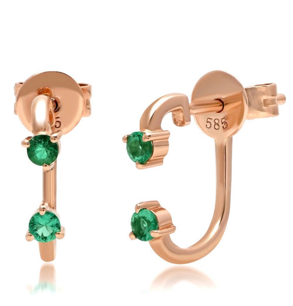14K Gold Double Emerald Ear Jacket Stud