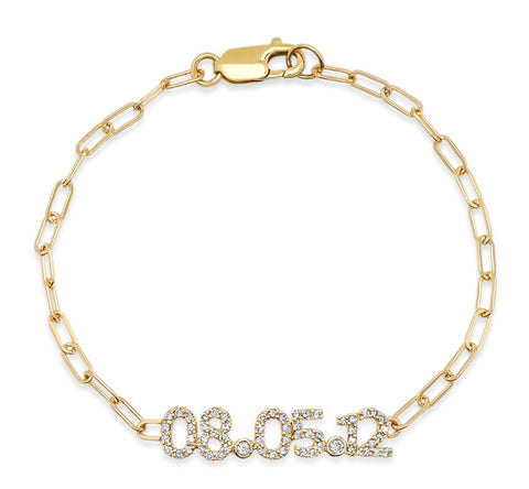 14K Gold & Diamond Date Bracelet