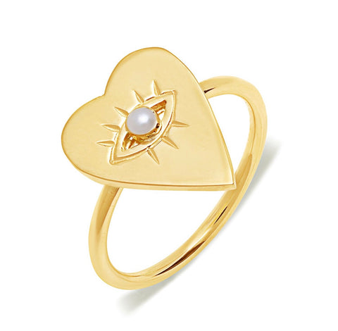 14K Gold Pearl Heart Evil Eye Ring