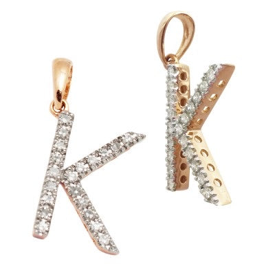 14K Gold Large Diamond Initial Charm