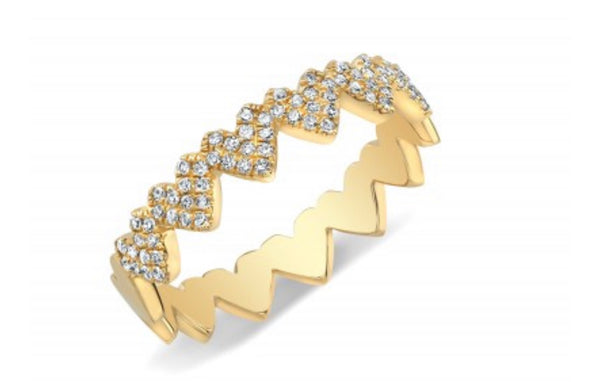 14K Yellow Gold Heart Eternity Band