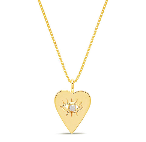 14K Gold Pearl Heart Evil Eye Necklace
