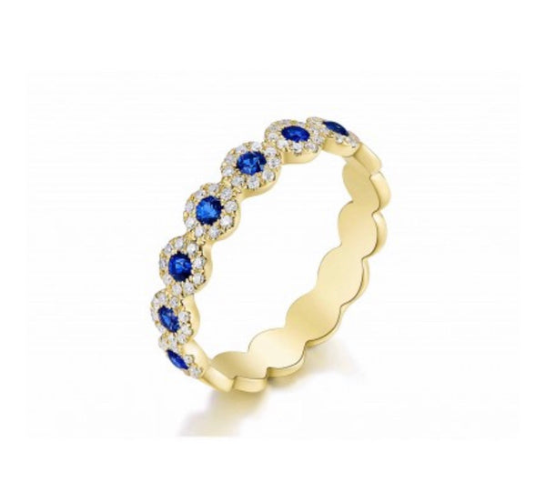 BLUE SAPPHIRE HALO CIRCLE RING