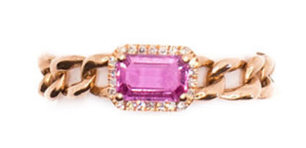 14K Gold Pink Sapphire & Diamond Chain Ring