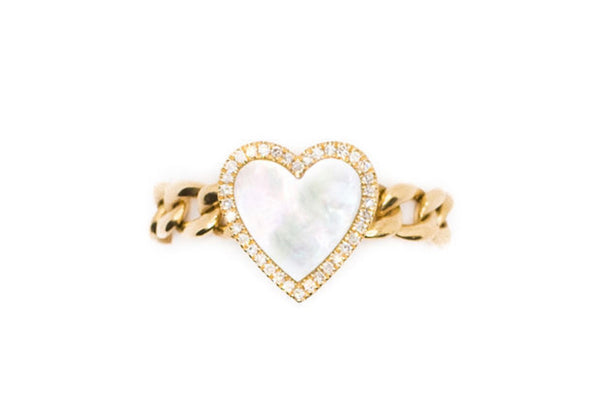 14K Gold Mother of Pearl Heart Chain Ring