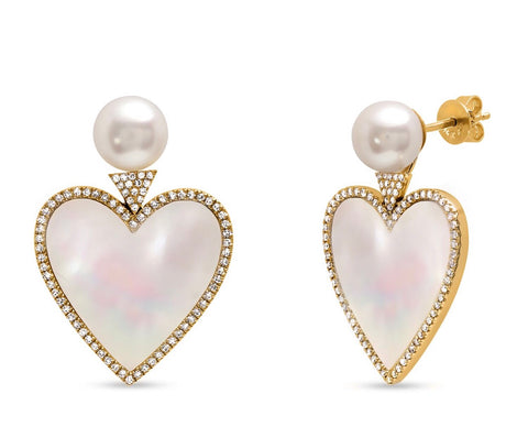 14K Gold Mother of Pearl and Diamond Heart Studs
