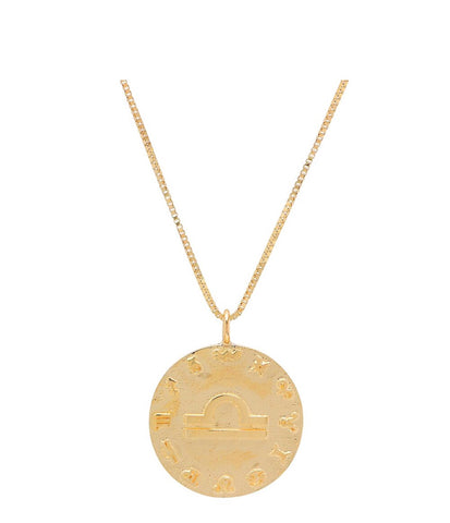 14K Gold 18mm Zodiac Pendant Necklace