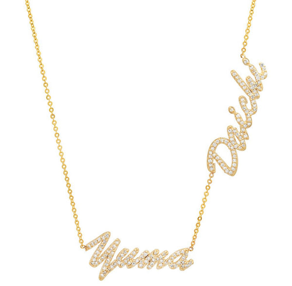 14K Gold Diamond Name Necklace