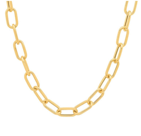 14K Yellow Gold Large Paperclip Chain Necklace