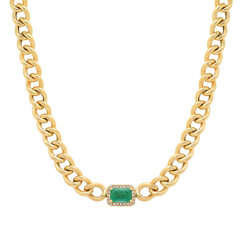 14K Gold Curb Chain Necklace with Emerald & Diamond Pendant