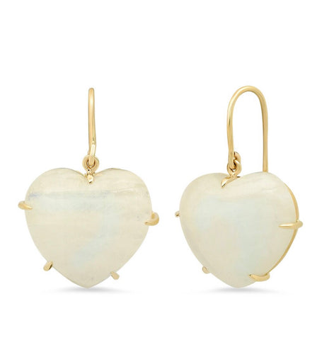 14K Yellow Gold Rainbow Moonstone Heart Shape Earrings