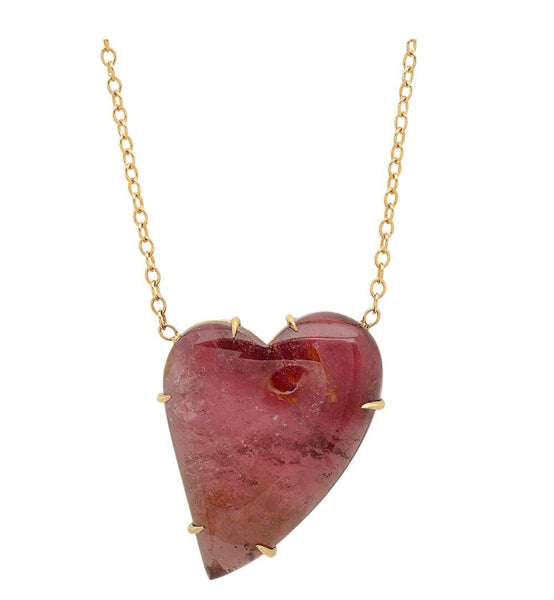 14K Yellow Gold Pink Tourmaline Heart Shape Necklace