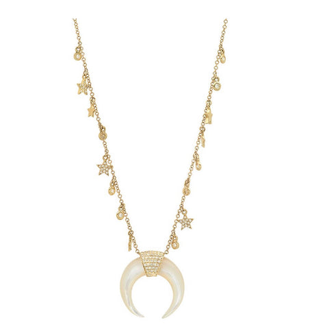 14K Gold Diamond Star Charm Crescent Necklace