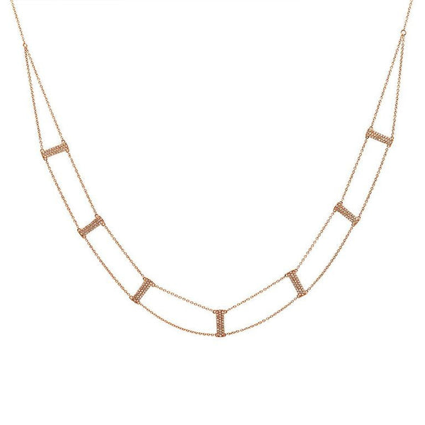 14K Rose Gold Diamond Ladder Necklace