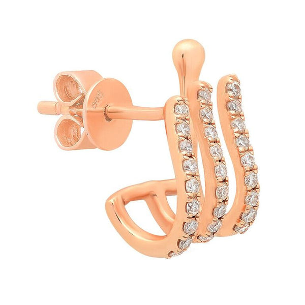 14K Rose Gold Diamond Triple Huggie Earring Cuff