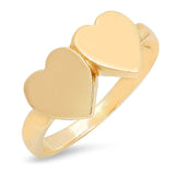 14K Gold Double Heart Signet Ring (Choose from 3 Styles)