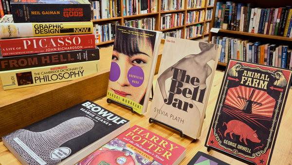 A display table at Janus Books