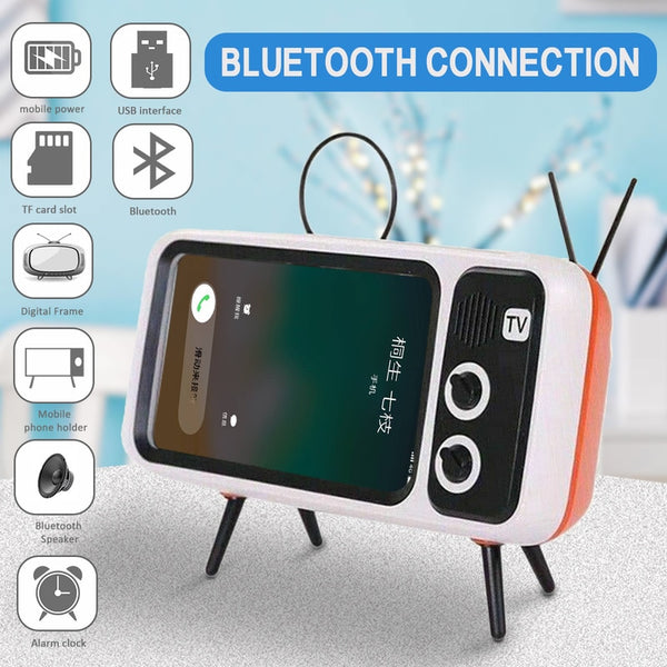 3 In 1 Wireless Peaker Retro TV Mini Portable Bluetooth Bass Speaker Mobile Phone Holder Stand Speaker Retro Photo Frame Gift