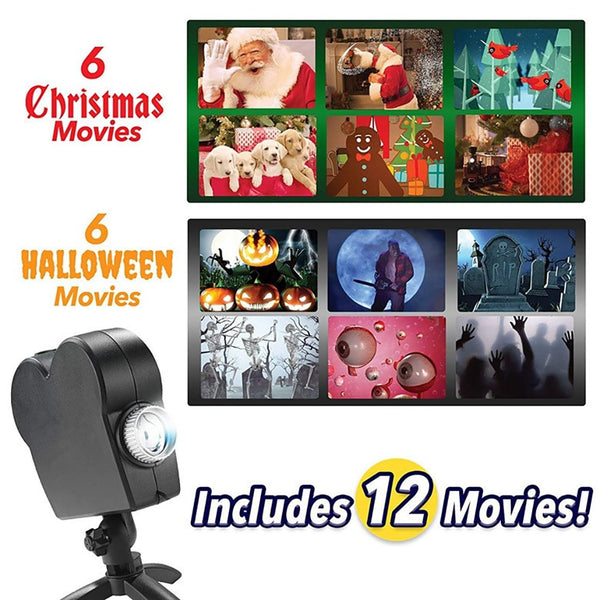 Christmas Halloween Laser Projector 12 Movies Disco Light Mini Window Display Home Projector Indoor Outdoor Wonderland Projector