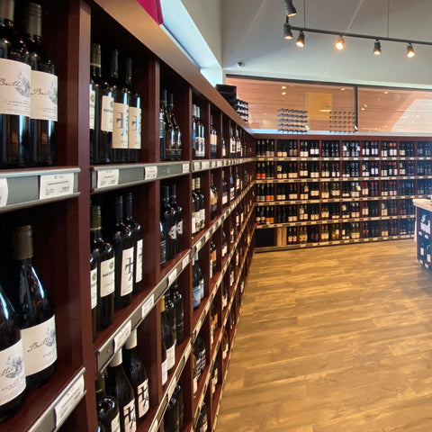 Long shelves with British Columbia VQA wine. Currently stocking over 900 wines from 155 different producers.