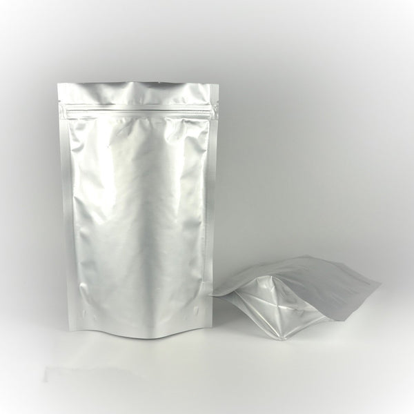 Sliver Foil Stand Up Zip Lock Bags - Sam's Teas and Spices