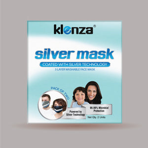 Klenza Silver non-medical face cover Double Pack- Grey & Navy Blue