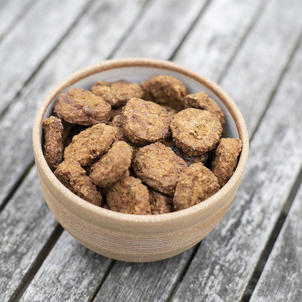 Load image into Gallery viewer, Texas Sausages Western Beef & Sweet Potato Dog Treats, 4-oz bag