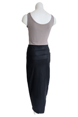 Leather Wrap Skirt, Black