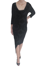 Valerie dress, Black Flocking